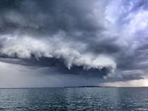 Summer storm. Over ocean waters big dark angry clouds Royalty Free Stock Photos