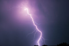 Summer storm with thunder, lightnings and rain. Stock Images