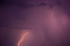 Summer storm with thunder, lightnings and rain. Stock Photo