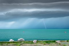 Dramatic before storm view at a turquoise lake royalty free stock photography