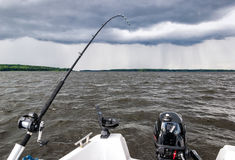 Summer storm under fishing time Stock Image