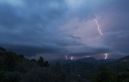 Summer storm with lighting Stock Photography