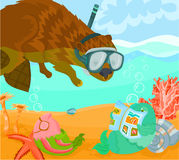 Summer story 02. Summer story B - Beaver diving Royalty Free Stock Photo
