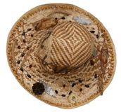 Summer straw hat 1. Decorated interlaced summer straw hat Stock Images