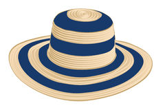 Summer straw hat. Illustration of beach straw hat (yellow and blue) isolated on white background Stock Photos