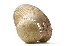 Summer straw hat. Isolated on white Royalty Free Stock Photos