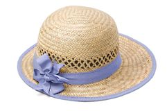Summer straw hat. Isolated on white Stock Photo
