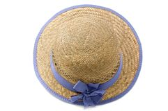 Summer straw hat. Isolated on white Royalty Free Stock Images