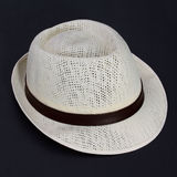 Summer straw hat isolated. On back Royalty Free Stock Image