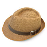 Summer straw hat isolated on white. Background Stock Photos