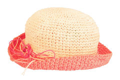 Summer straw hat. Isolated on white background Stock Image