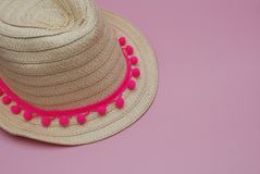 Summer Straw Hat on Pink background. Travel and Holiday Concept. Copy Space. stock photos