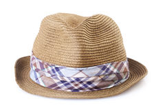 Summer straw hat  on white Stock Photography