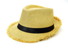 Summer straw hat. On a white background royalty free stock images