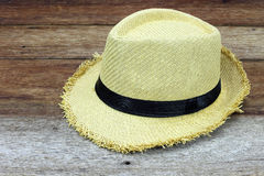 Summer straw hat. On wooden background royalty free stock photo