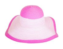 Summer straw  pink hat isolated Royalty Free Stock Photos