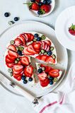 Summer Berry No Bake Cheesecake. Summer Strawberry and Blueberry No Bake Cheesecake royalty free stock image