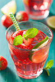 Summer strawberry lemonade with lime and mint Royalty Free Stock Photography