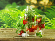 Summer strawberry lemonade with mint Stock Photo