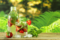Summer strawberry lemonade with mint Stock Photography