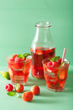 Summer strawberry raspberry lemonade with lime and mint Royalty Free Stock Photo