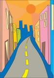 Summer street. Vivid colorful summer street, vector royalty free illustration