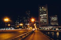 The Summer Street Bridge at night in Boston, Massachusetts. Royalty Free Stock Photo