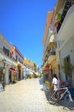 Summer street resort town Greece Royalty Free Stock Photos