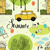 Summer street with trees, doors, cars and dogs Stock Images
