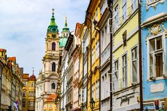 Colorful fronts of houses in Prague, with the windows open stock photos