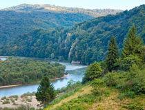 Summer Stryj River valley view. Stock Photos