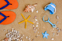 Summer stuff on the sand of a beach. High-angle shot of some summer stuff, such a pair of flip-flops, a conch, a starfish, some pebbles and seashells or a small royalty free stock image