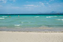 Summer stunning seaview with mountains. Mallorca island. Balearic Islands Spain, Mediterranean Sea Stock Photography