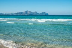 Summer stunning seaview with mountains. Mallorca island. Balearic Islands Spain, Mediterranean Sea Stock Photos
