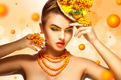 Summer style horizontal picture of glamour girl with rowan acces Royalty Free Stock Photography