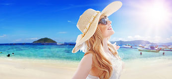 Summer style portrait of an atractive lady. Summer style portrait of an atractive woman Royalty Free Stock Photography