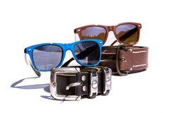 Summer stylish fashion accessories clothing. Sunglasses and belt stock image