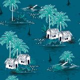 Summer stylish seamless Dark ocean island pattern on blue background. Landscape with palm trees,beach. And ocean vector hand drawn style stock illustration