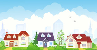 Summer suburb. Illustration of a summer suburb Royalty Free Stock Photo