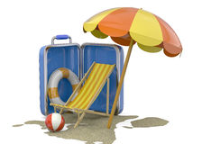 Summer in a Suitcase - 3D Stock Photo