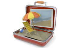 Summer in a Suitcase - 3D Royalty Free Stock Images
