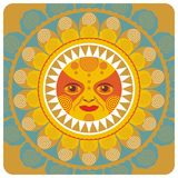 Summer Sun. Concentric decorative illustration of the summer sun Stock Photos
