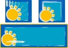 Summer sun. Illustration on blue background Stock Photos