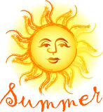 Summer Sun. Illustration of a Sun with the headline Summer Royalty Free Stock Photography