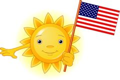 Summer Sun with American flag Royalty Free Stock Image