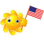 Summer Sun with American flag. Cartoon Character  of Cute Summer Sun holding American Flag Royalty Free Stock Photography