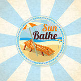 Summer sun bathe on the shore retro background Stock Image