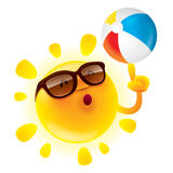 Summer sun with beach ball. Summer sun spinning beach ball on its finger Royalty Free Stock Image