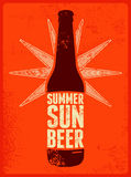 Summer, Sun, Beer. Typographic retro grunge beer poster. Vector illustration. Stock Image