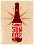 Summer, Sun, Beer. Typographic retro grunge beer poster. Vector illustration. Stock Photography